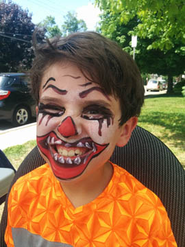 scary clown face painting by Danuta Niton